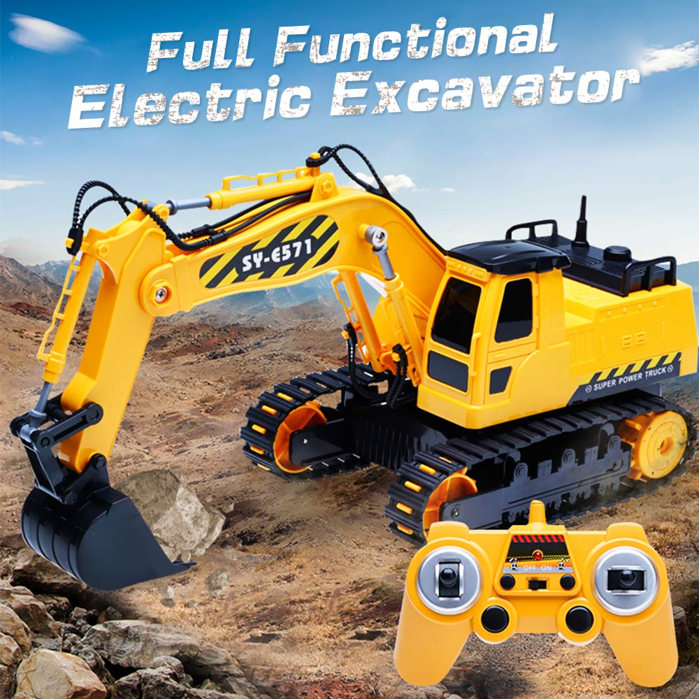 DOUBLE  E Remote Control Excavator Full Functional Construction Tractor, Rechargeable RC Truck Excavator with 2.4Ghz Transmitter by DOUBLE  E (Image #6)