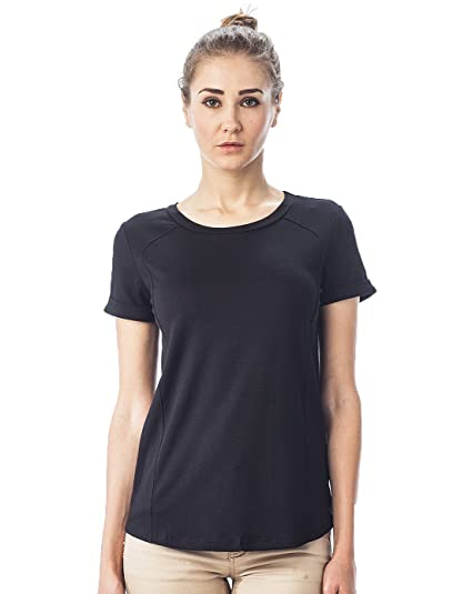 4e088a939186 LaClef Women's Loose Fit Rolled Sleeve Raglan Casual Basic Shirt Top  (Small, Black)