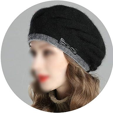 00e2f7ad81213 Amazon.com  Winter Beret Knitted Wool Angora Beret Double Warm Hat ...