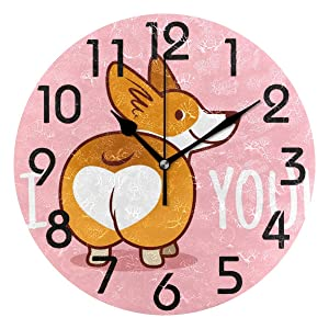 Naanle Cute Cartoon Welsh Corgi Dog Butt Heart Round Wall Clock Decorative, 9.5 Inch Battery Operated Quartz Analog Quiet Desk Clock for Home,Office,School(Pink)