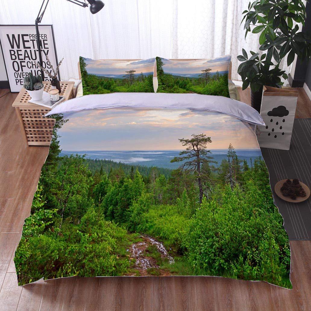 VROSELV-HOME 3 PCS King Size Comforter Set,Norwegian Fjord Landscape Preikestolen Area Norway Landmark Landscape Cool 3D Outer Space Bedding Digital Print