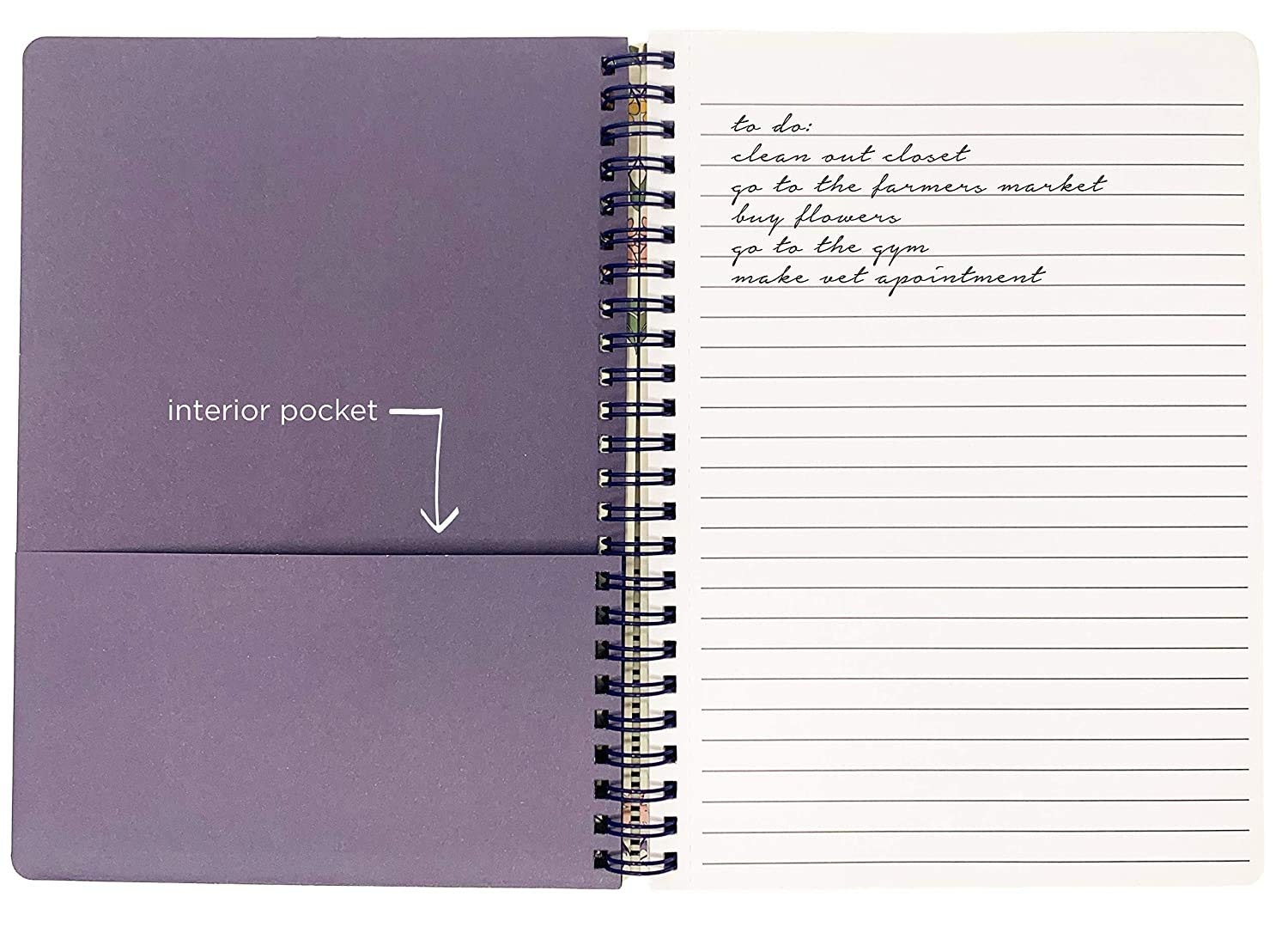 Purple Vine Ditsy Womens Teen Girls Cute Purple Floral Mini Spiral Notebook with Durable Hardcover and 160 Lined Pages