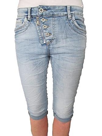 Jewelly by Lexxury Damen Front Zip Knopfleiste Baggy Boyfriend Stretch  Bermuda Capri Shorts Krempel Hose  Amazon.de  Bekleidung 2fe289e20b