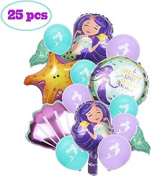 Amazon.com: 25 globos de sirena para fiesta de cumpleaños ...
