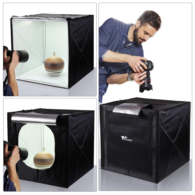 Amzdeal Light Box Photo Studio 20 x 20 inch Professional Photography Tent with LED Light 4 Backdrops (White Black Orange Grey)