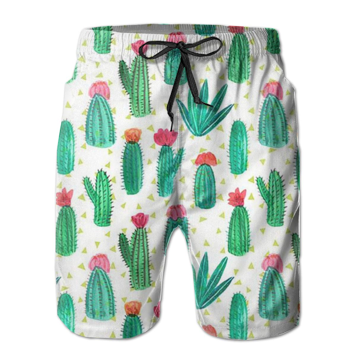 Mens Swim Trunks Quick Dry Summer Holiday Beach Shorts with Mesh Lining Cactus in The Desert Beachwear