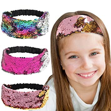 Black silver red gold sequin fabric headband hairband