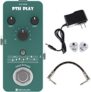 MeloAudio Digital Pitch Pedal Guitar Effect Pedal 9 Pitch Types True Bypass with Electronic Power Supply, Picks and Patch Pedal Cable