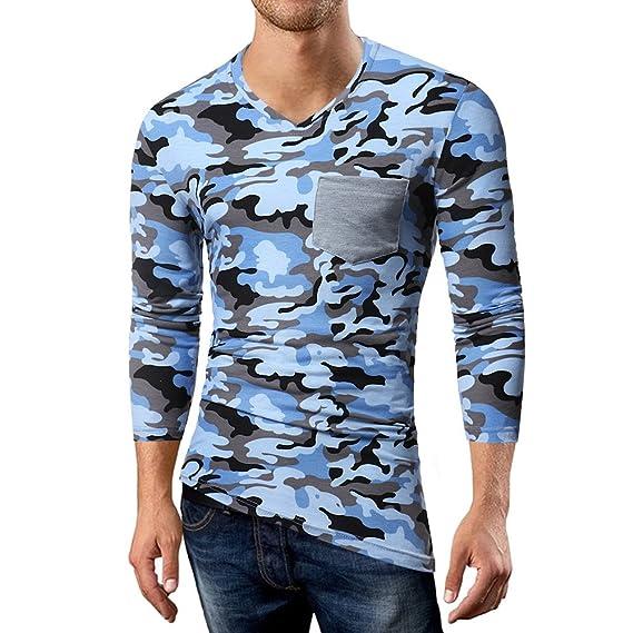 OHQ_Camisa Hombre Blusa OtoñO Moda 2018 Casual Camuflaje Patchwork Manga Larga con Cuello En V Camiseta Top Blusa Pantalones Chaleco Tapas Camisas Polo ...