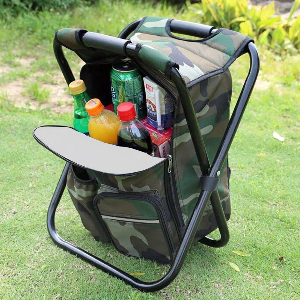 Zantec Klapp Camping Stuhl Hocker Rucksack mit K/ühler Isolierte Picknick Tasche Sitz Tisch Tasche f/ür Outdoor Angeln Travel Beach BBQ
