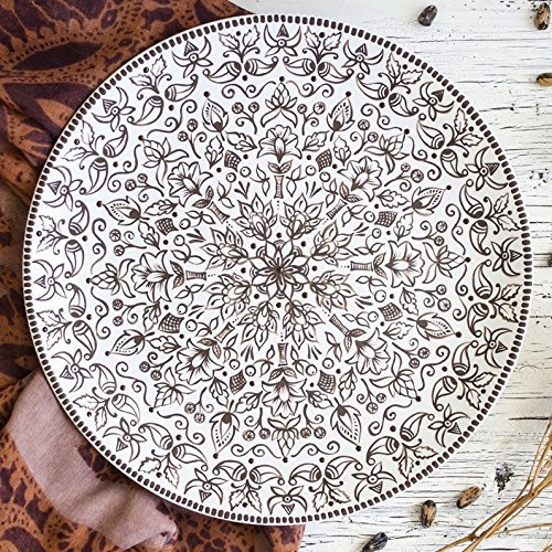 Indian mandala plate Hand painted decorative plates Monochrome plates  sc 1 st  Amazon.com & Amazon.com: Indian mandala plate Hand painted decorative plates ...
