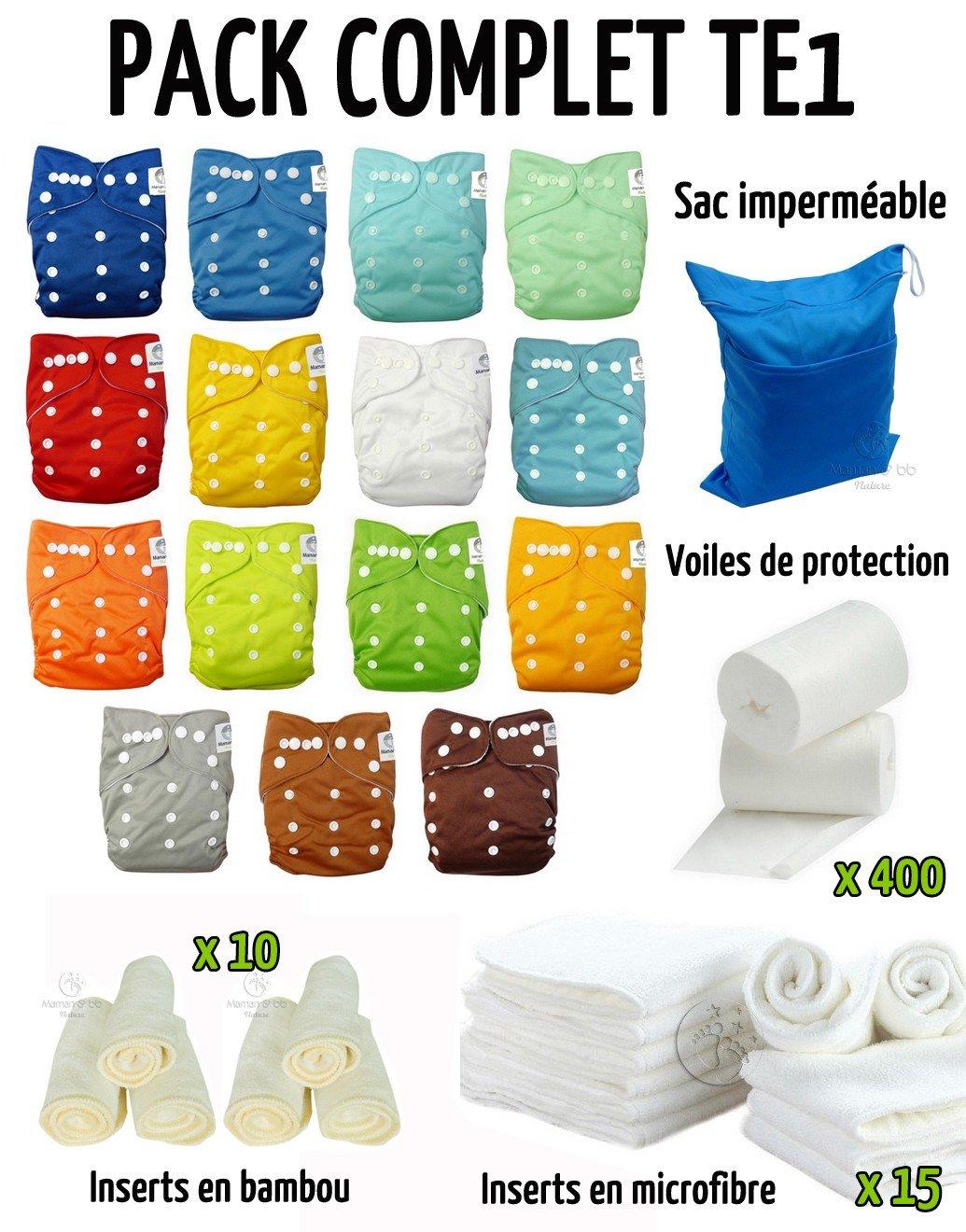 Pack complet : lot de 15 couches lavables + inserts + voiles + sac imperméable tons bleus Maman et bb Nature
