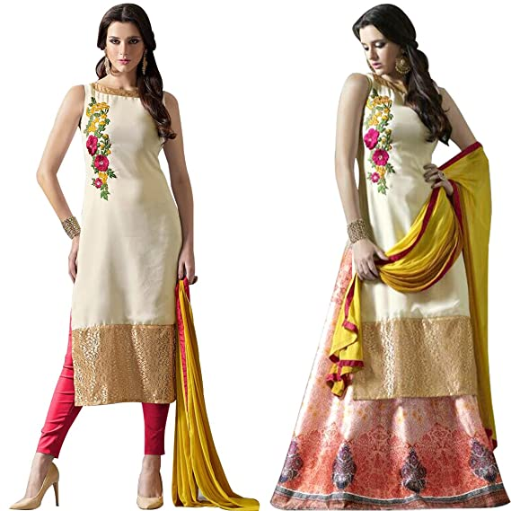 dfeb4369f2 new arrival creme georgette embroidered festival partywear salwar suit and  digital print lehenga choli: Amazon.in: Clothing & Accessories