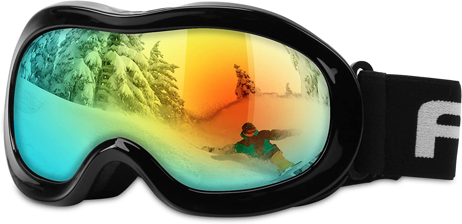Kids Ski Goggles, Snowboard Goggles – AKASO Snow Goggles for Youth, Kids Teenagers, Anti-Fog, 100 UV Protection, Double-Layer Spherical Lenses, Helmet Compatible