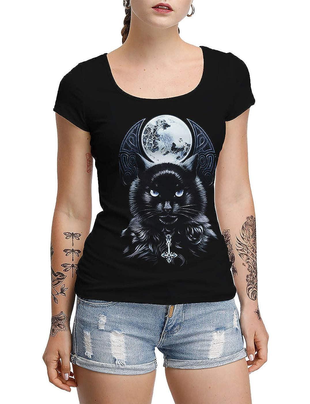 Donna Halloween Maglietta Cool Cranio T-Shirt Halloween Costumi Zucca Shirt Nero Top Tomba Hollow Indietro T-Shirt Elastico novit/à Moda Costumi per Festa Parata