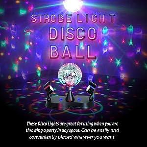 Kidsco Multi Color LED Strobe Light Mirror Disco Ball (Color: Multi, Tamaño: 360 Degree Rotating Ball)