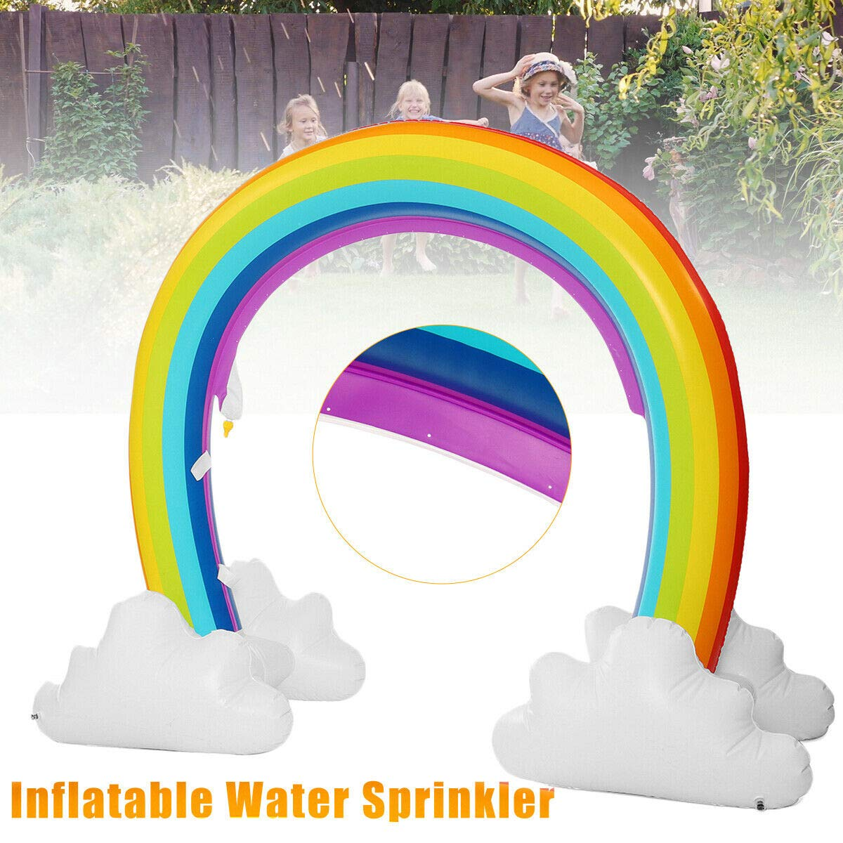 MerryXD Rainbow Sprinkler,Giant Water Inflatable Arch Sprinkler Outdoor Summer Toys for Kids by MerryXD (Image #3)