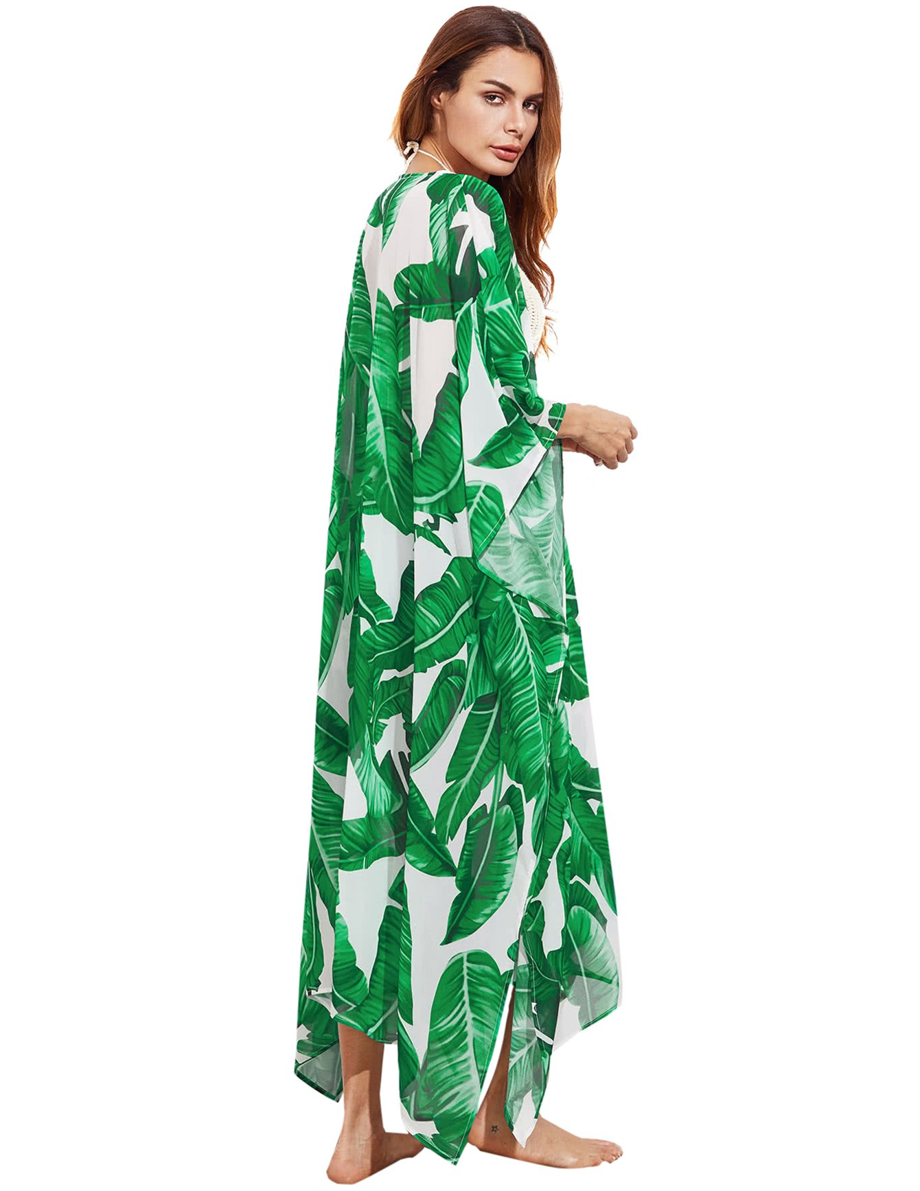 4ff3a6bcd3e SweatyRocks Women s Flowy Kimono Cardigan Open Front Maxi Dress Green 2 One  Size - KMC170516701-M   Cover-Ups   Clothing