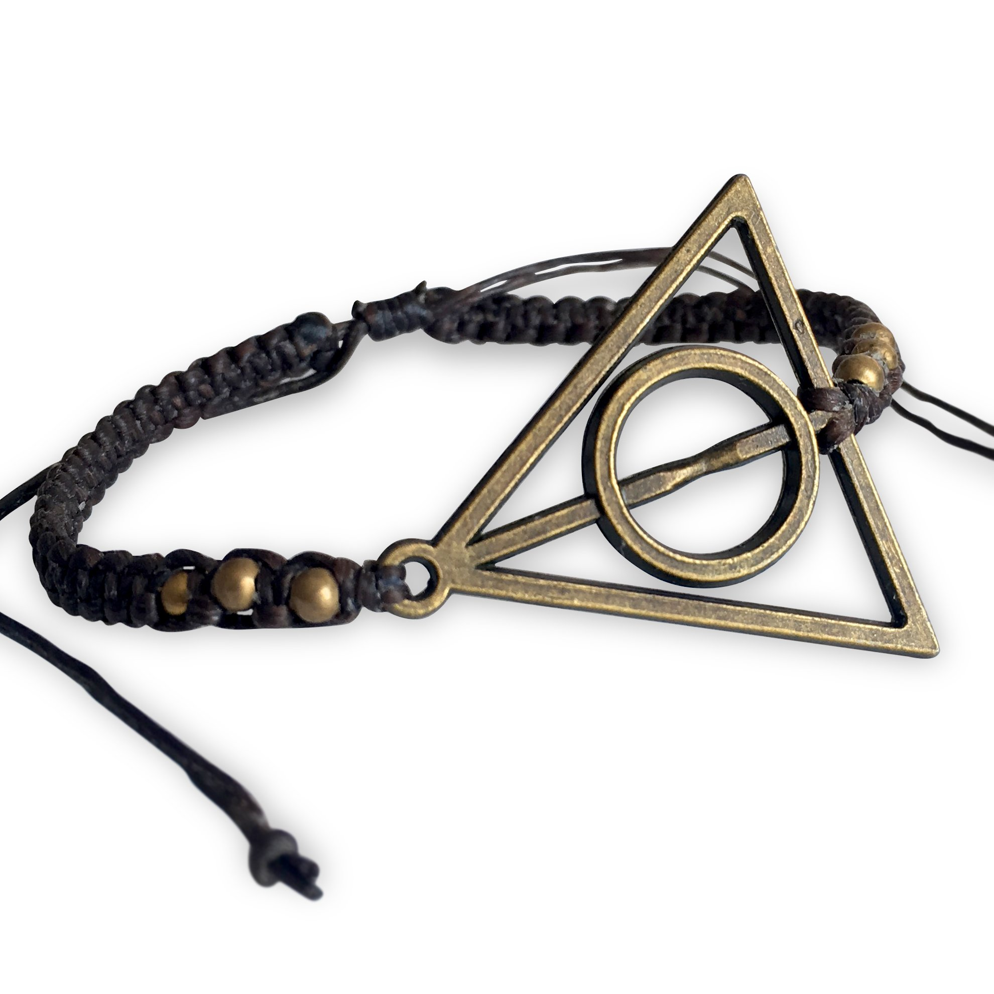 Eli and Andi Mens Womens Harry Potter Deathly Hallows Inspired Brass Charm Adjustable Bangle Bracelet