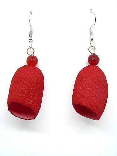 f4824312839d Pendientes de Seda y piedra natural. Color rojo  Amazon.es  Handmade