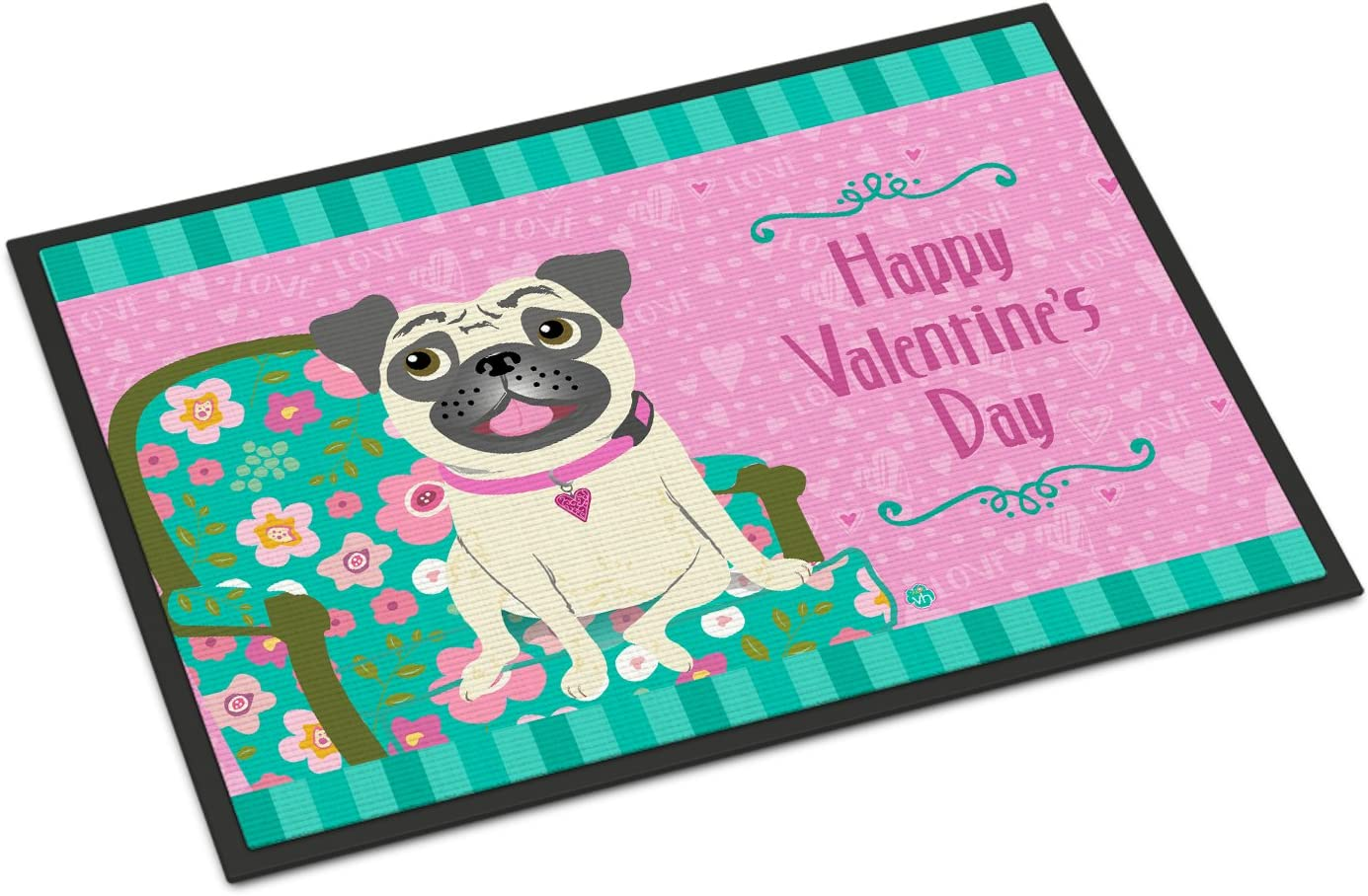 Caroline s Treasures VHA3002JMAT Happy Valentine s Day Pug Indoor or Outdoor Mat 24×36, 24H X 36W, Multicolor