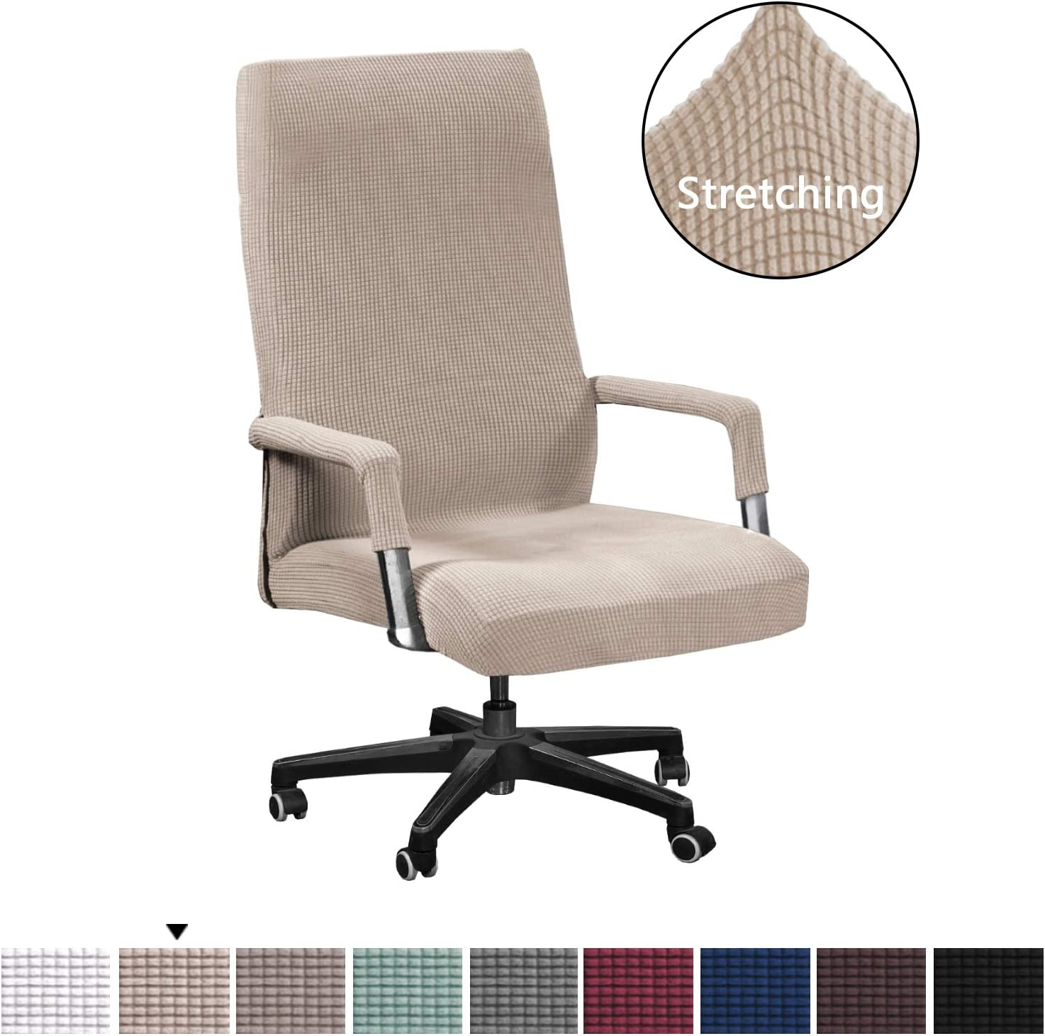H.VERSAILTEX Office Chair Covers Stretchable Rotating Armchair Slipcover Removable Stretch Computer Office Chair Cover Featuring Jacquard Textured Twill Fabric for Medium Back Office Chair, Sand