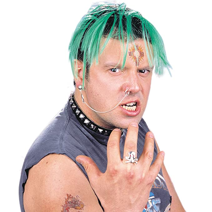 Rocker Fake Piercings Punk Schmuck Set Ohrring mit Ohr-Nasen Kette Totenkopf