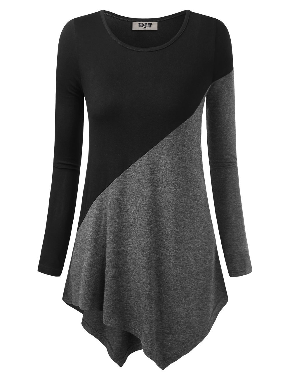 DJT Women's Color Block Long Sleeve T Shirts Tunic Tops L Black+Dary Grey by DJT