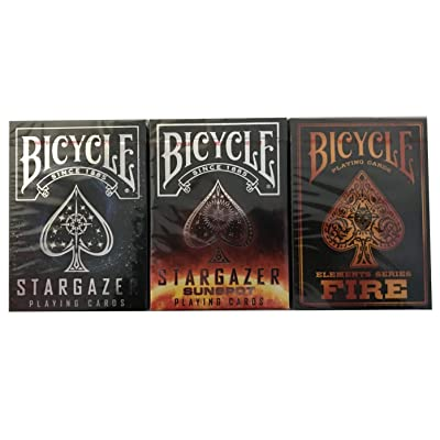 Lot 3 Stargazer, Sunspot Stargazer & Fire Bicycle Playing Cards: Sports & Outdoors