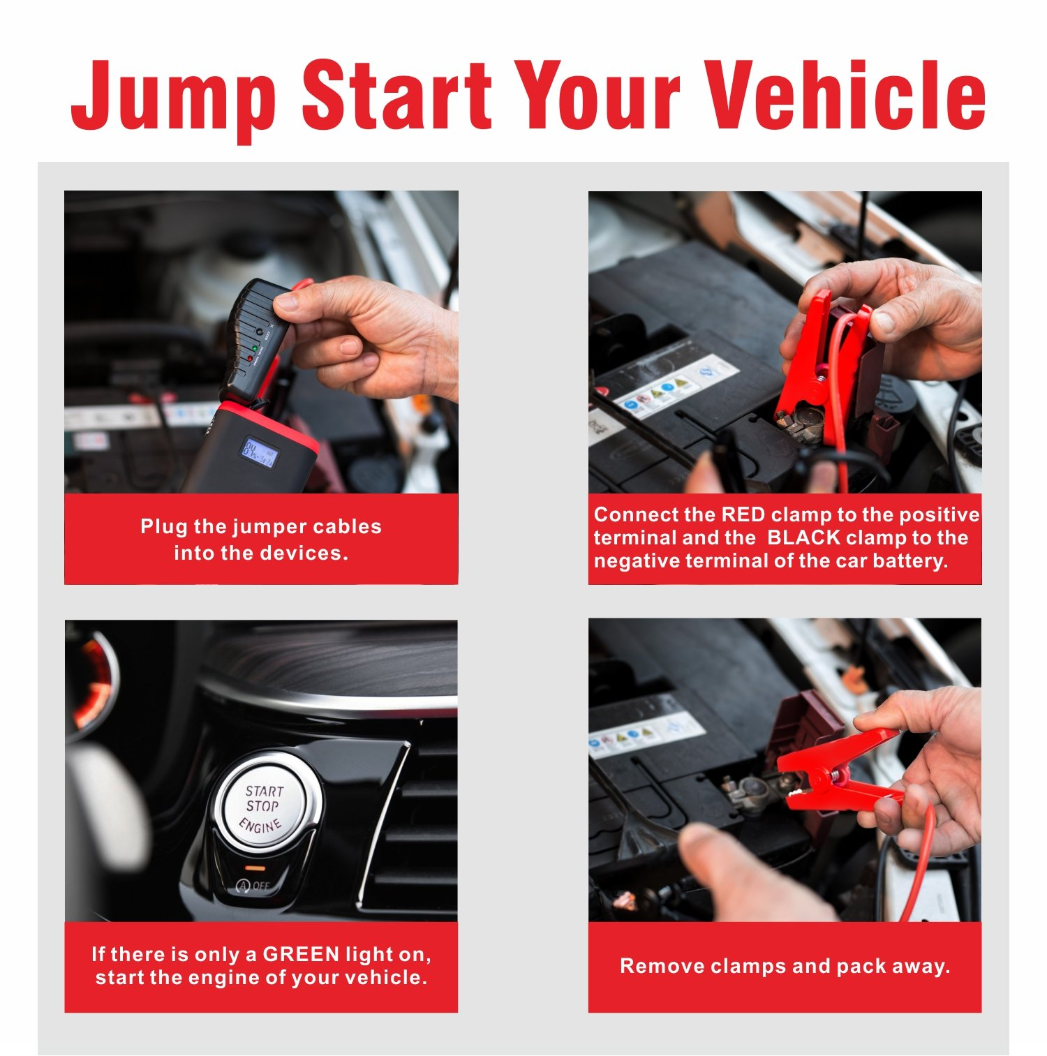 GREPRO Car Jump Starter 500A 12V Vehicle (Up to 4.5L Gas, 2.5L Diesel Engine) Smart Jumper Cable, Auto Battery Booster LED Flashlight, 9000mAh Portable Power Pack Quick Charge by GREPRO (Image #8)