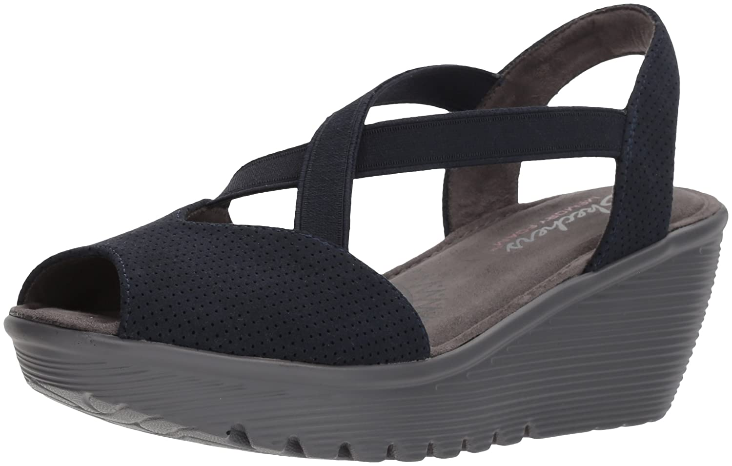 3f2093b18b3f Skechers womens parallel piazza peep toe gored slingback wedge sandal  platforms wedges jpg 1500x955 Skechers open