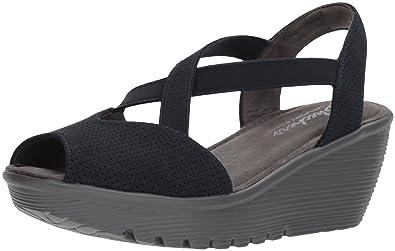 2a6da1282b1d Skechers Women s Parallel-Piazza-Peep Toe Gored Slingback Wedge Sandal Navy  9 ...