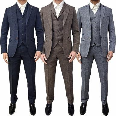 1170a5a36a Retro 3 Piece Brown Grey Tweed Herringbone Men's Suits Slim Fit Groom  Tuxedos Prom Blazer Custom Jacket at Amazon Men's Clothing store: