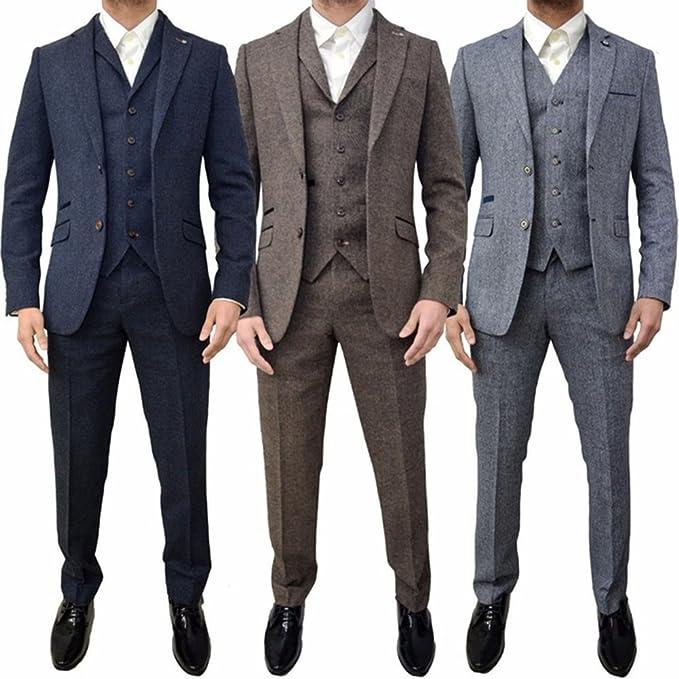Retro 3 Piece Brown Grey Tweed Herringbone Mens Suits Slim ...
