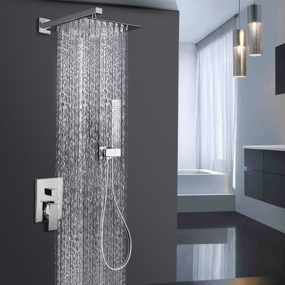 EMBATHER Shower System  Brushed Nickel Shower Faucet Set For Bathroom   State Of The Art Air Injection Technology  12u201d Square Rain Shower Head   Easy ...