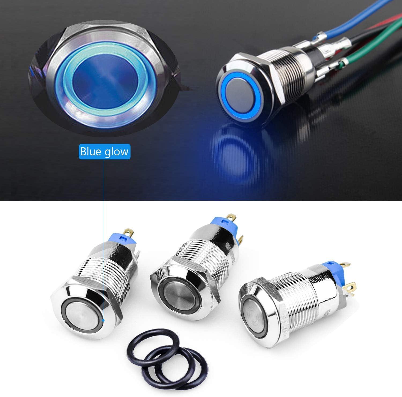 WEKON 3 Pcs Druckschalter 4 Pin 12//24 V LED Kippschalter Wasserdicht IP66 EIN//AUS-Schalter Drucktaster Druckknopf f/ür Auto KFZ Boot