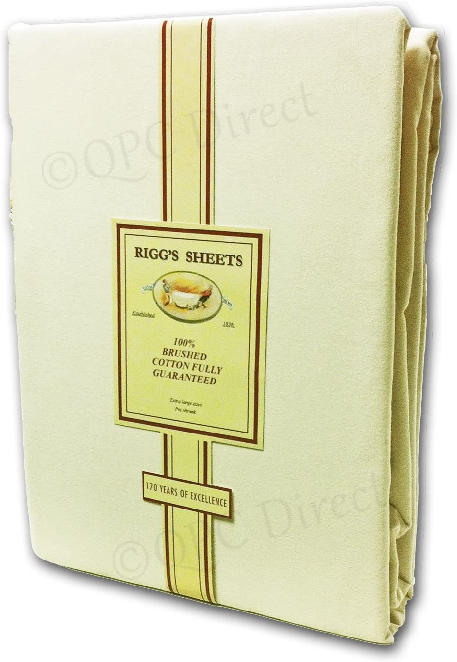 Pillowcase Riggs Premium Brushed Cotton Sheets IVORY CREAM flannelette