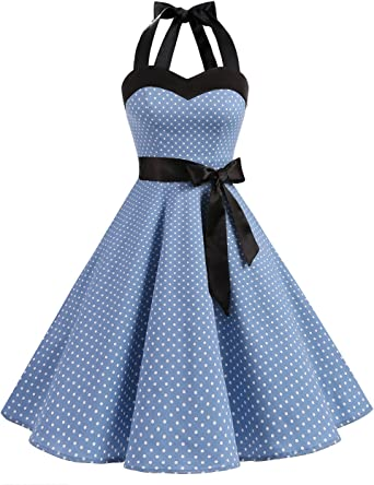 DRESSTELLS® Women's 1950s Dress Retro Polka Dots Halter Vintage Audrey Rockabilly Cocktail Party Dress