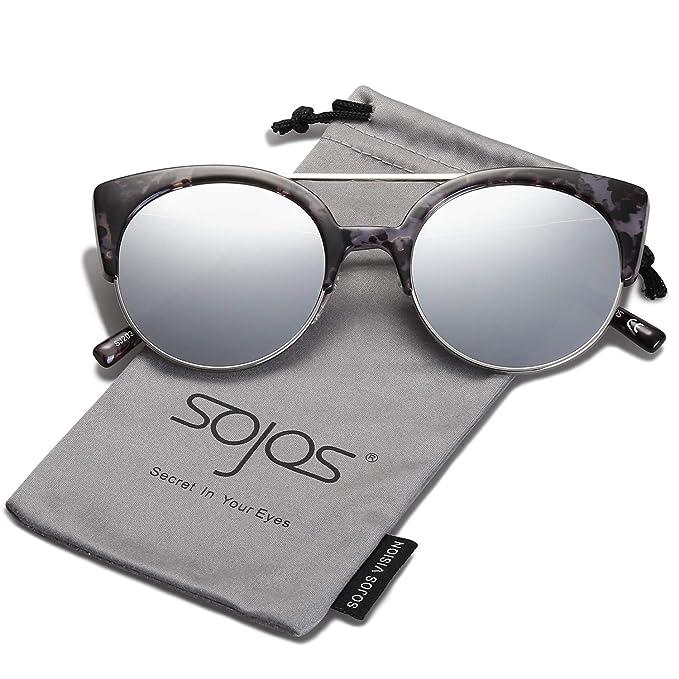 c55d331c5e SojoS Gafas De Sol Mujer Marco Metal Ojo De Gato Clásico Retro Vintage  SJ2035 (C6