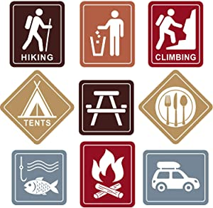 Camping Themed Party Decorations, 10 - 11.8 Inch Laminated Camping Sign Cutouts, Camping Theme Party Signs, Paper Camping Cutouts with 40 Glue Point Dots (9 Pieces Camping Sign)