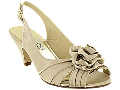 Ladies Gold Satin Wide Fit Kitten Heel Wedding Evening Sandal