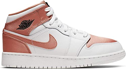 Nike Girls' Air Jordan 1 Mid (Gs) Basketball Shoes, White ...