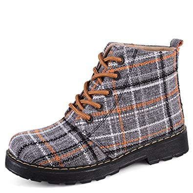 Femmes Toile Carreaux Martin Bottes Chaussures Lacets 0m8nwvNO