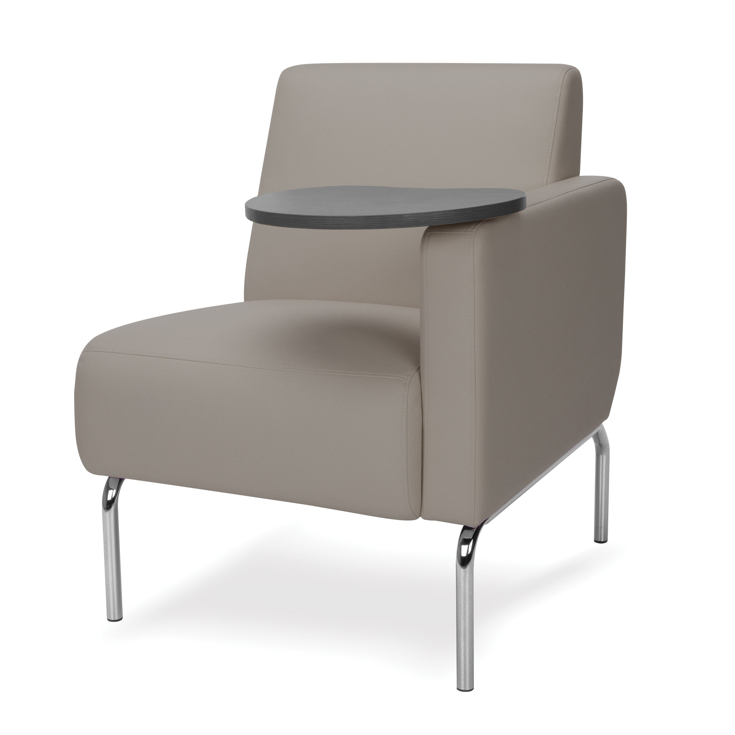 OFM 3001LT-PU607-TG Triumph Series Left Arm Modular Lounge Chair with Tungsten Tablet, Polyurethane Seat and Chrome Feet, Taupe