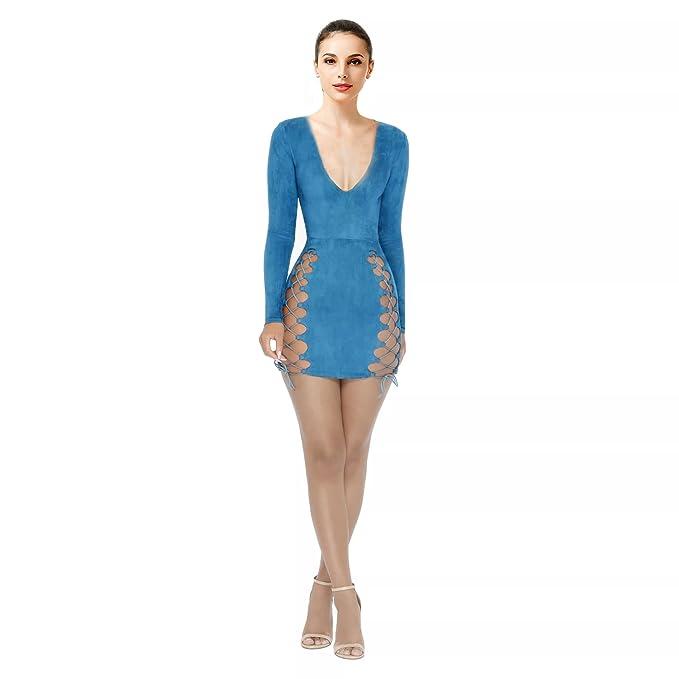 ddac2cc44c5 TYFeng Women's Sexy V Neck Off Shoulder Bodycon Mini Party Night Club Dress  (Blue,