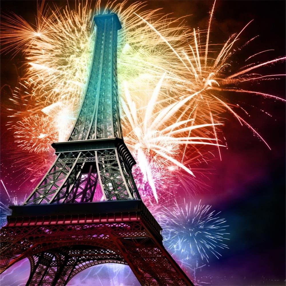 8x12 FT Night Vinyl Photography Backdrop,Eiffel Tower at Twilight Travel Destination Tourist Attraction Famous Monument Background for Baby Shower Bridal Wedding Studio Photography Pictures