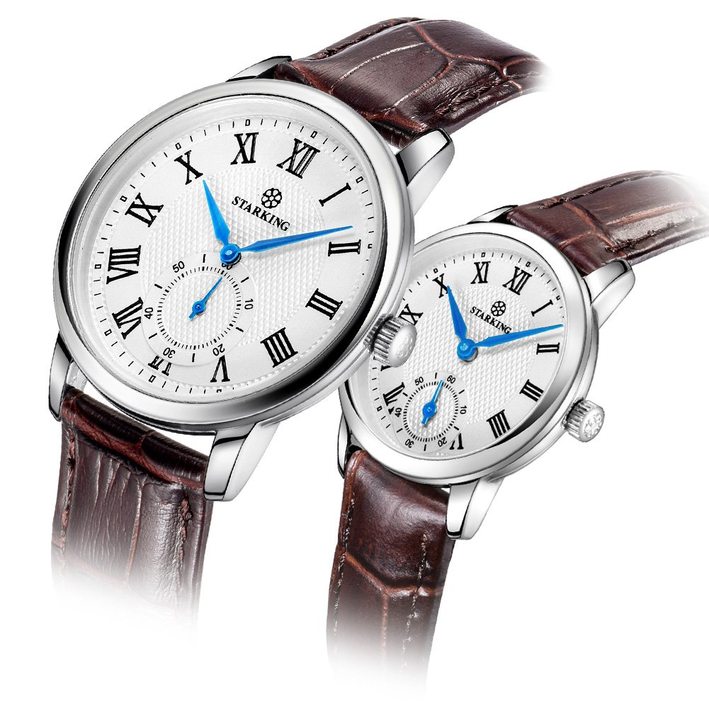 STARKING Luxury Couple Watches Man and Woman Wrist Watch TL0906 Leather Woman Watch Casual Style Roman Number Waterproof Scratch Proof