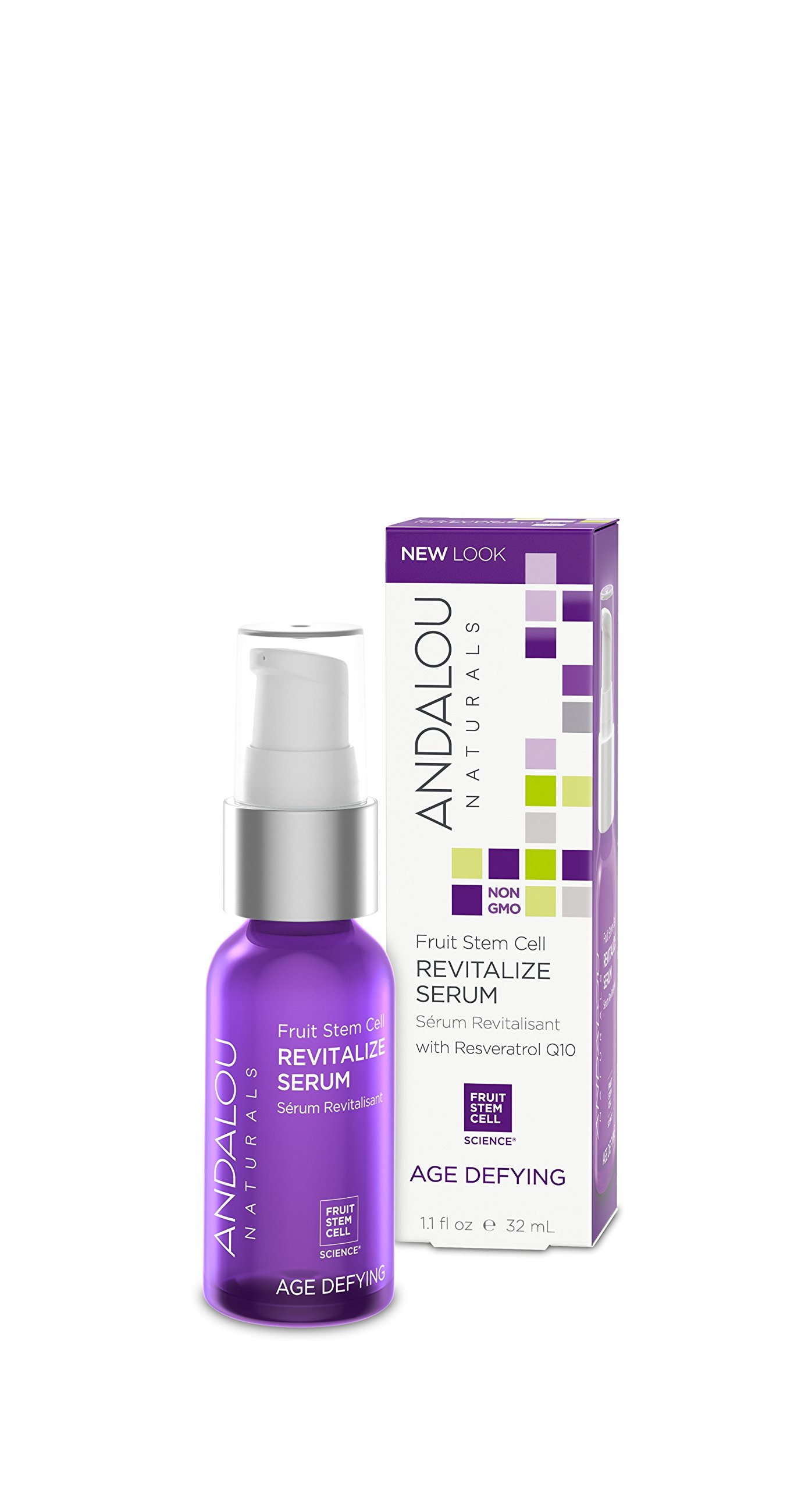 Andalou Naturals Fruit Stem Cell Revitalize Serum, 1.1 oz., For Dry Skin, Fine Lines & Wrinkles, Helps Skin Look Younger, Softer, Smoother