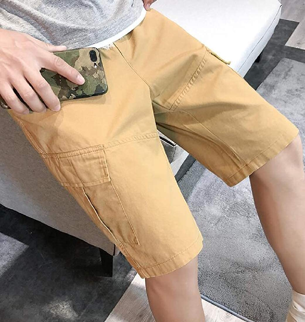 X-Future Mens Athletic Solid Color Outdoor Multi Pockets Summer Cargo Shorts Without Belt