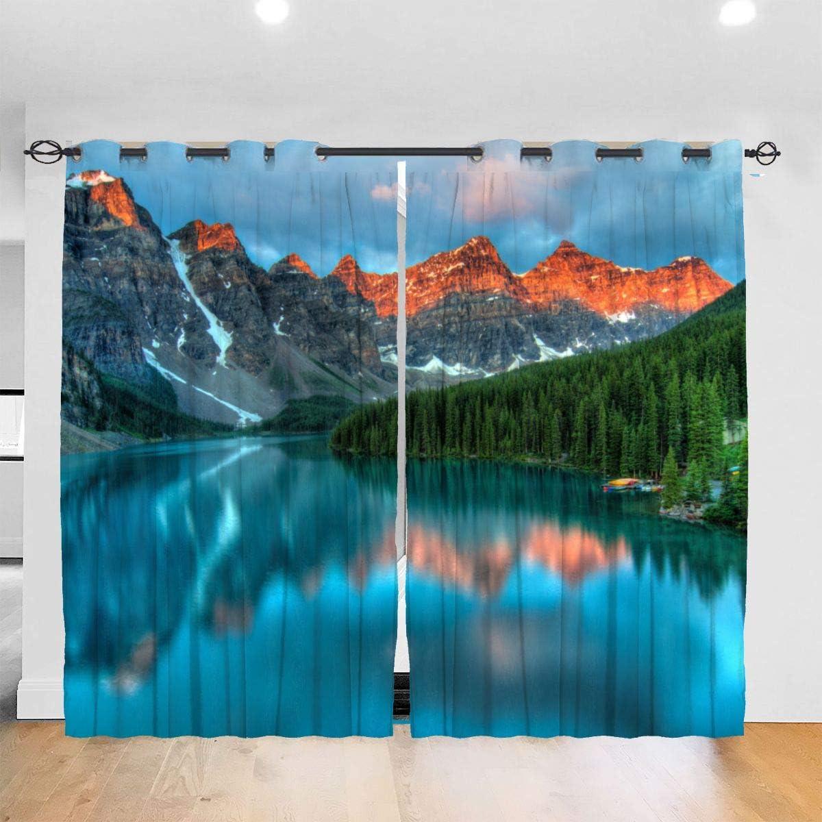 DmiGo Lochvorh/änge,Moos um Holzsteg im Regenwald Wohnzimmer Schlafzimmer Fenster Vorh/änge 2 Panel Set,104 WX 72 L Zoll